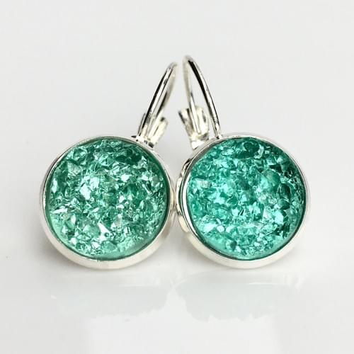 Mint Crystal faux druzy silver leverback earrings