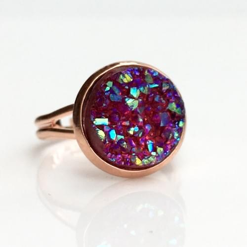 Iridescent Ruby faux druzy rose gold ring