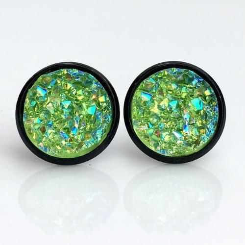 Iridescent Lime faux druzy black earrings
