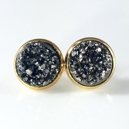 Chunky grey faux druzy gold earrings