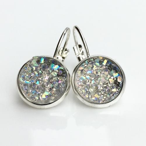 Smoky Crystal faux druzy silver leverback earrings