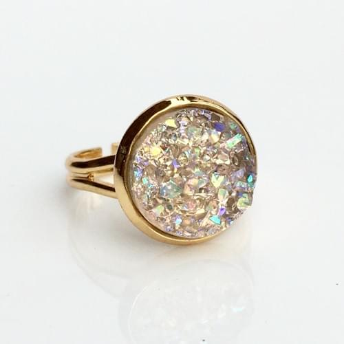 Champagne Crystal faux druzy gold ring
