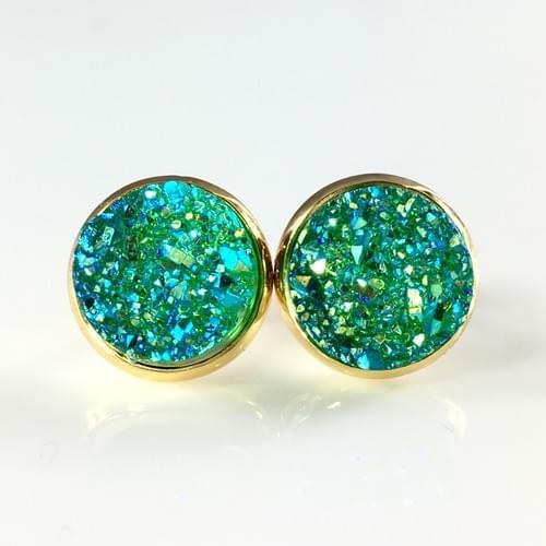 Iridescent green faux titanium druzy gold earrings