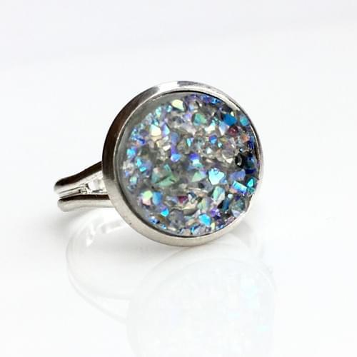 Crystal Grey faux druzy silver ring