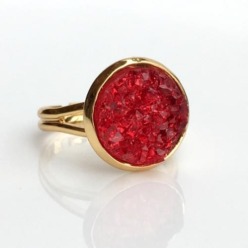 Red faux druzy gold ring