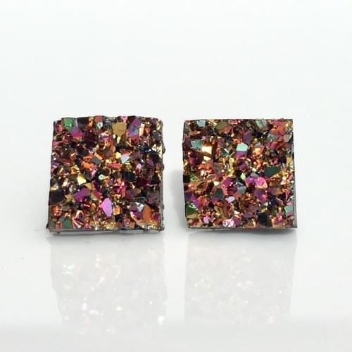 Small Copper Rainbow faux druzy square earrings