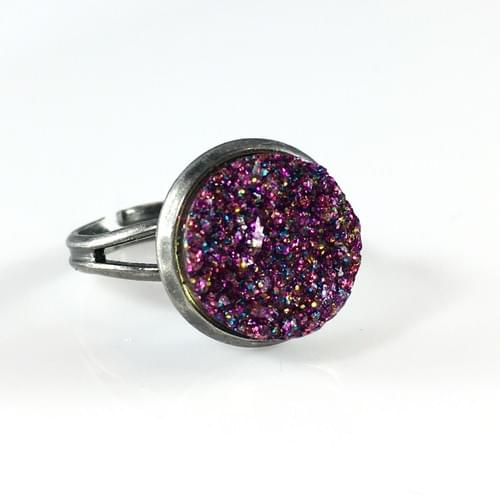 Magenta glitter faux druzy silver ring