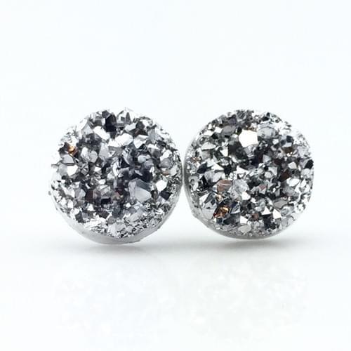 Metallic silver faux druzy post earrings