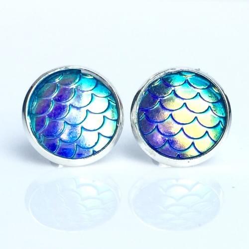 Pastel Rainbow mermaid scale earrings