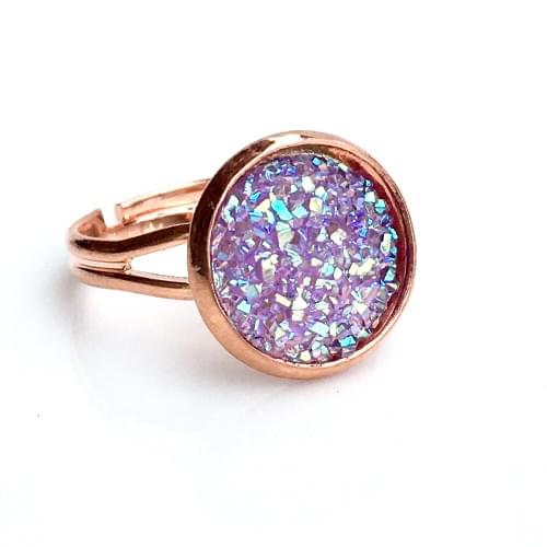Flat sparkly lavender rose gold ring