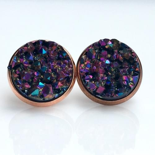 Magenta Purple Rainbow faux druzy rose gold studs