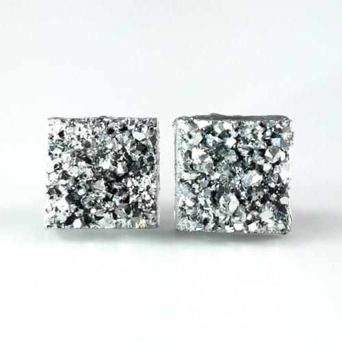Silver faux druzy square earrings