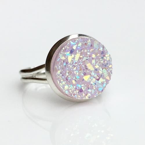 Light Mauve faux druzy silver ring