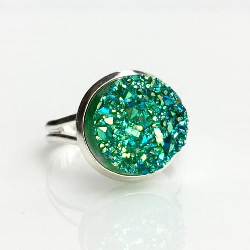 Iridescent green faux druzy silver ring