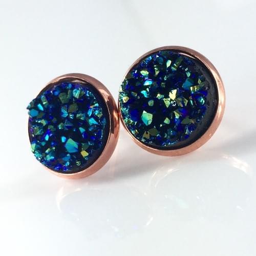 Ocean blue faux druzy rose gold earrings