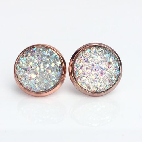 Clear flat sparkly rose gold earrings
