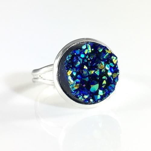 Ocean blue faux druzy ring