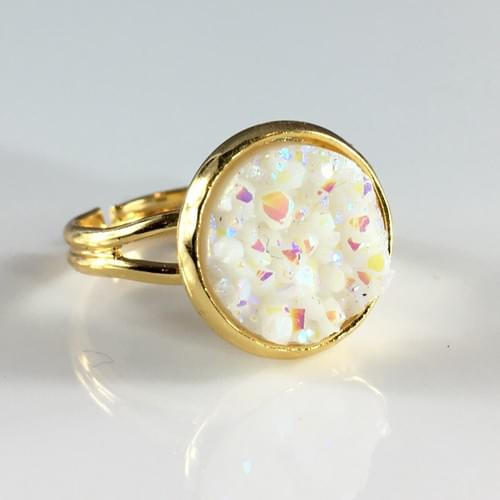 Opal White faux druzy gold ring