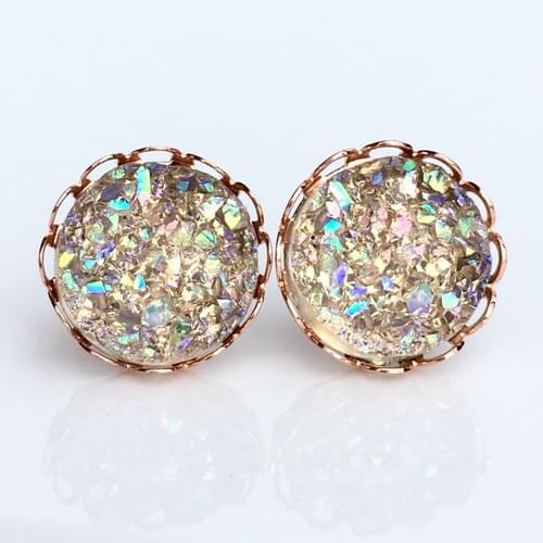 Champagne crystal faux druzy rose gold lace earrings
