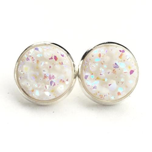Opal white faux druzy silver earrings