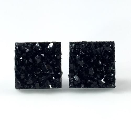 Black faux druzy square earrings