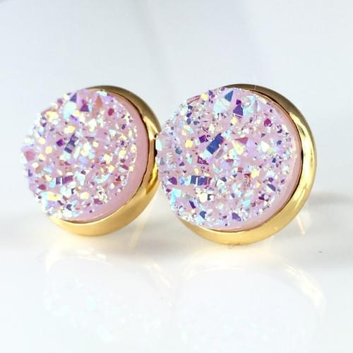 Light mauve faux druzy gold earrings