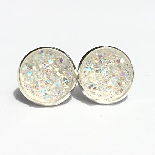 Iridescent crystal faux druzy silver earrings
