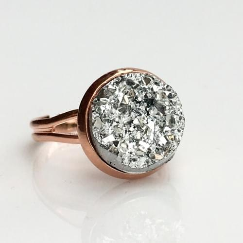 Chunky Silver faux druzy rose gold ring