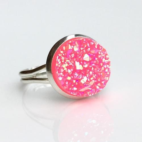 Bright Pink Iridescent faux druzy silver ring