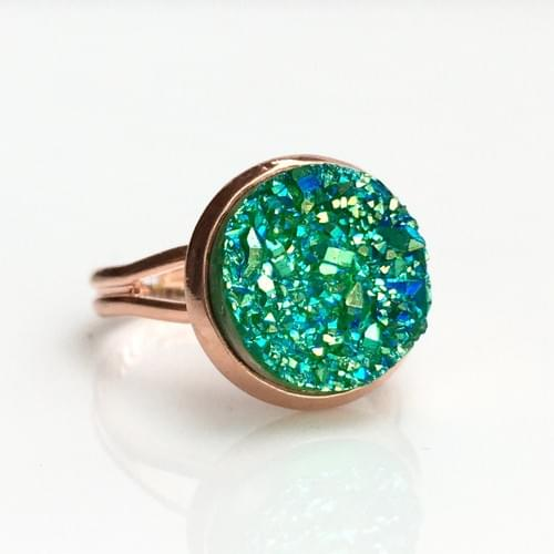 Green Iridescent faux druzy rose gold ring
