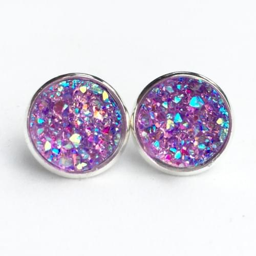 Iridescent lavender faux druzy silver earrings