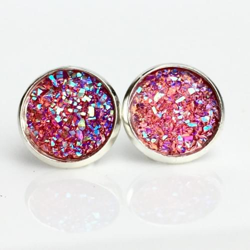 Flat sparkly hot pink silver earrings