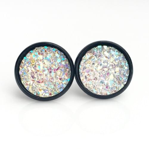 Flat clear sparkly black earrings
