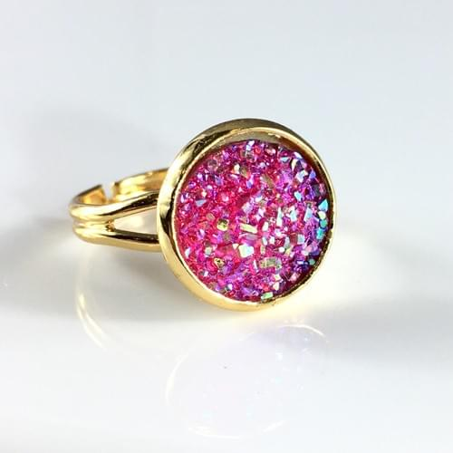 Flat sparkly hot pink gold ring
