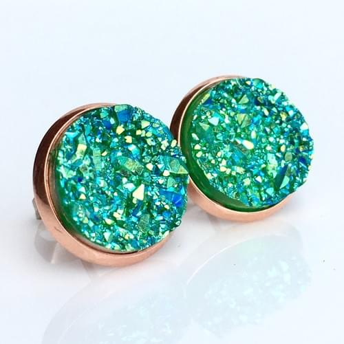 Iridescent green faux druzy rose gold earrings