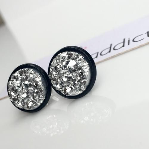 Chunky Silver faux druzy black earrings