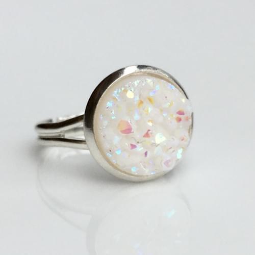 Opal White faux druzy silver ring