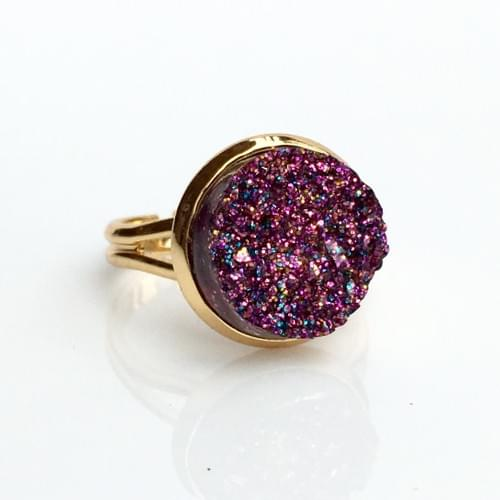 Magenta Glitter faux druzy gold ring