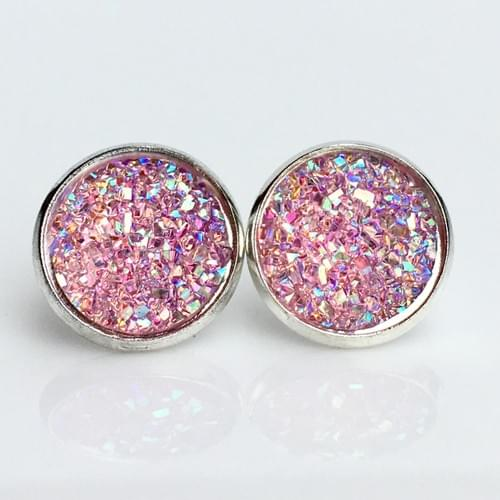 Flat sparkly light pink silver earrings