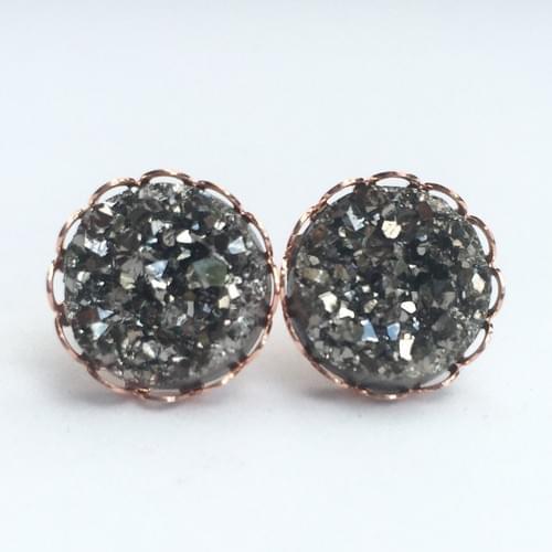 Grey faux druzy rose gold lace earrings