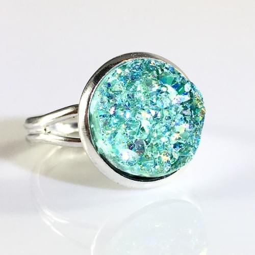 Iridescent mint faux druzy silver ring