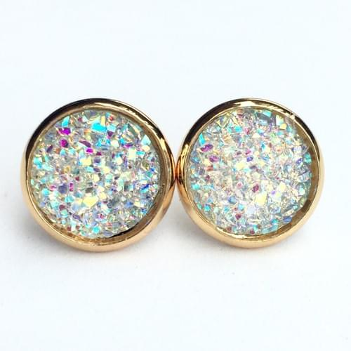 Flat sparkly clear glitter gold earrings