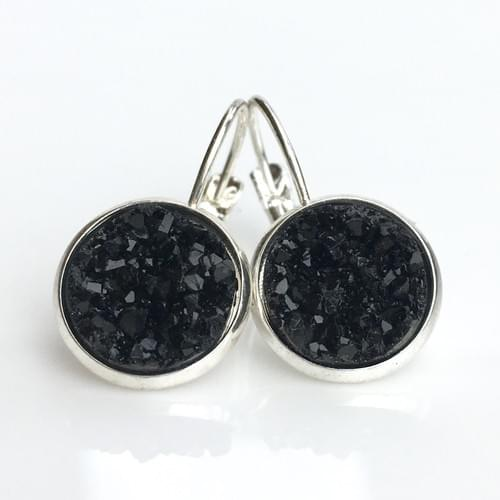 Black faux druzy silver leverback earrings