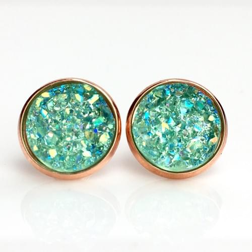Iridescent mint faux druzy rose gold earrings