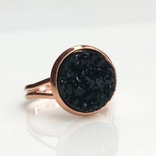 Chunky Black faux druzy rose gold ring