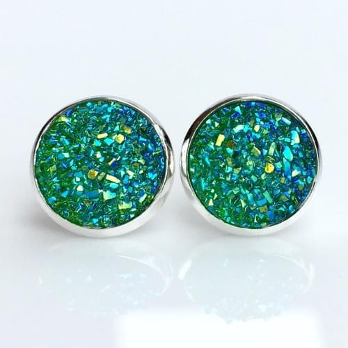 Iridescent green faux titanium cut druzy silver earrings