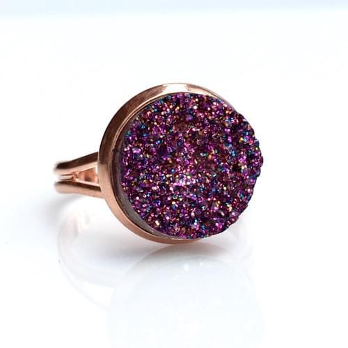 Magenta Glitter faux druzy rose gold ring