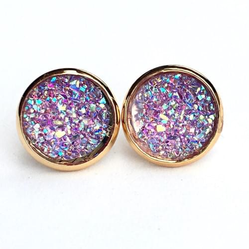 Flat sparkly lavender gold earrings