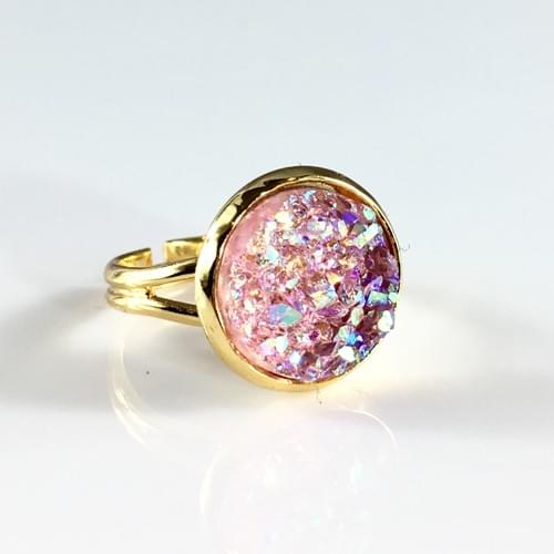 Chunky Pink faux druzy gold ring