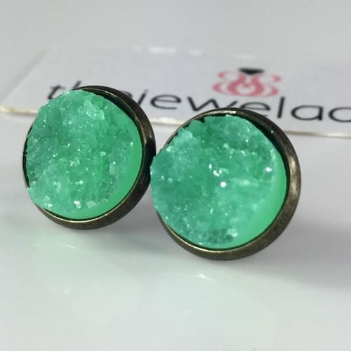 Mint Faux druzy bronze earrings